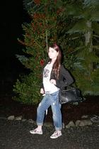 black blazer - white t-shirt - jeans - Ed Hardy - black Michael Kors