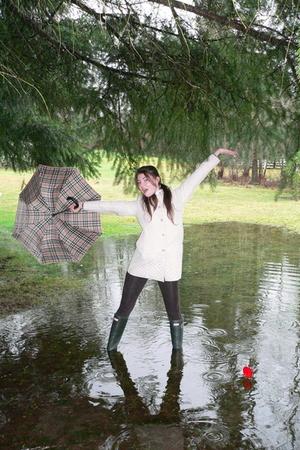 beige gallery coat - green Hunter boots - brown Forever 21 leggings - Burberry