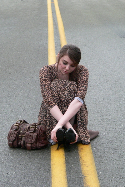 dress - black shoes - brown Betsey Johnson - black Victorias Secret tights