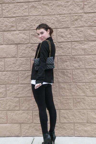 black Forever 21 leggings - black blazer - black Chanel lambskin 255 - black Jes