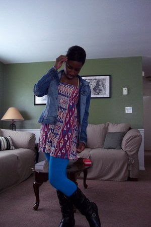 Forever 21 dress - Fergelicious boots - H&M jacket - tights