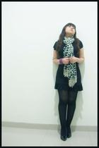 unknown brand dress - Zara scarf - Cammomile bracelet - Bebe lookalike shoes