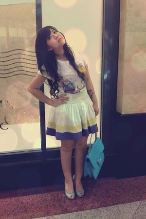 white Forever 21 t-shirt - white Mango skirt - blue Guess shoes - blue Chanel ac