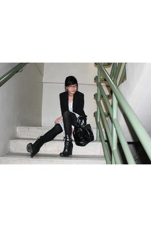 black Zara blazer - white thrifted dress - black Marks & Spencer tights - black