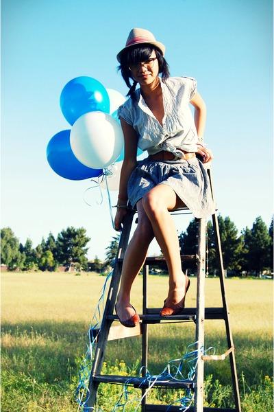 blue Forever21 shirt - brown X Generation belt - gray Forever21 skirt - brown Ta