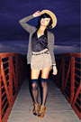 Blue-forever21-jumper-camel-forever21-shorts-dark-brown-cardigan-tawny-cha