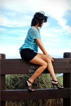 blue Forever21 shirt - black unknown shoes - black Forever21 hat