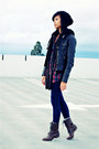 brown SM New York boots - black Forever21 hat - dark brown Forever21 jacket - bl