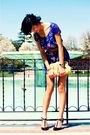 blue Forever21 dress - yellow Forever21 purse - green abercrombie and fitch belt