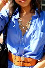 Blue-thrift-dress-brown-old-navy-belt-black-dsw-shoes-black-thrift-purse-