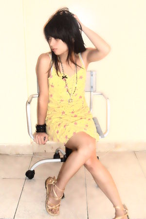 yellow -from mommys closet- dress - gold shobra sandals - silver chair at IKEA H