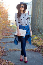 heather gray polka dot Forever 21 sweater - navy dark skinny J Brand jeans