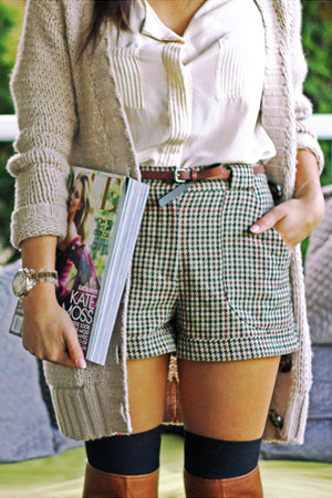 beige H&M sweater - brown Aldo boots - herringbone H&M shorts