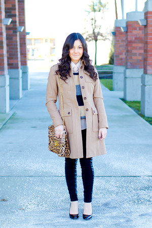 striped Part Two sweater - beige wool banana republic coat