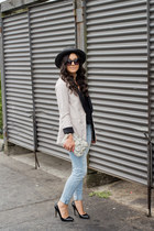 light blue American Eagle jeans - black Forever 21 hat - off white H&M blazer