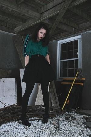Target shirt - second hand skirt - CVS tights - payless shoes