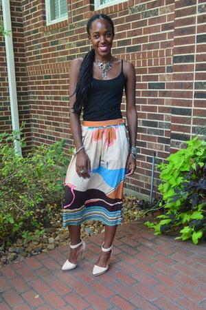 silver handmade bracelet - vintage necklace - vintage skirt - Forever 21 heels