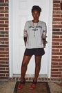 Forever-21-shorts-bcbg-shoes-plaid-back-forever-21-sweatshirt