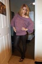 purple Henri Girl top - black Henri Girl leggings - black Henri Girl shoes