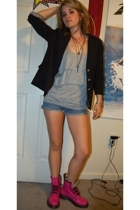 forever 21 blazer - top - shorts - Dr Martens boots - Betsey Johnson vintage acc
