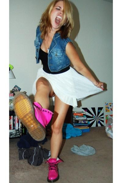 vest - HenriGirl dress - doc martens boots