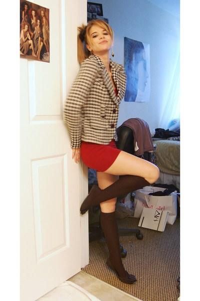 black Forever 21 blazer - red American Apparel dress - black socks - Forever 21