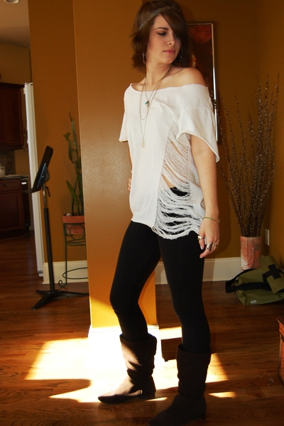 brown scrunched boots boots - white shredded Hanes t-shirt