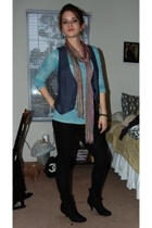 HenriGirl top - vest - scarf - Xhileration leggings - boots