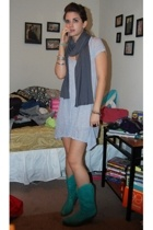 forever 21 dress - forever 21 scarf - Jessica Simpson boots