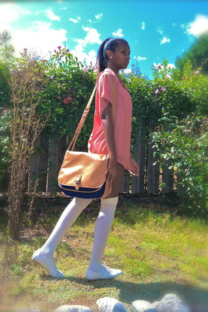 white shorts - off white shoes - bag - off white socks - pink blouse