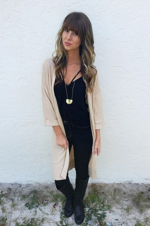 black top - navy pants - beige cardigan