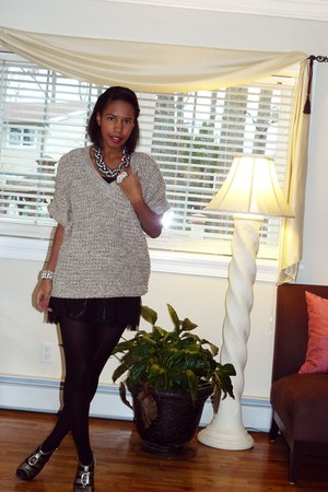 black olsenboye dress - beige Forever 21 sweater - ann taylor necklace - ann tay
