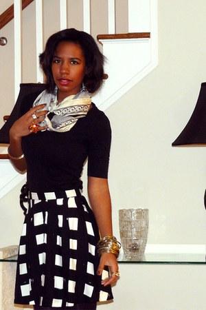 black black Target shirt - silk Oscar de la Renta scarf - Gap skirt - gold gold