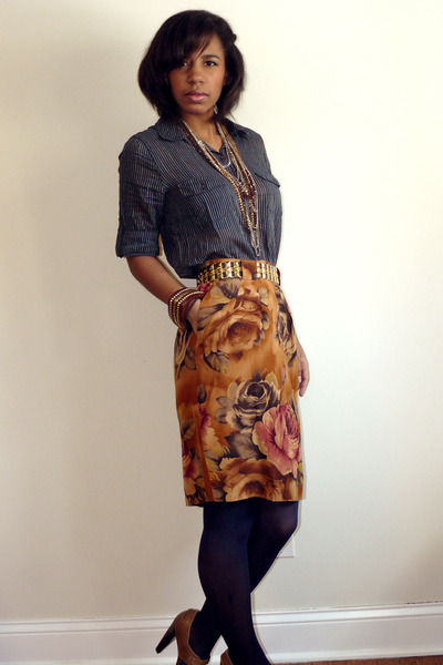 navy Urban Outfitters blouse - burnt orange Jones New York skirt - tawny Tahari