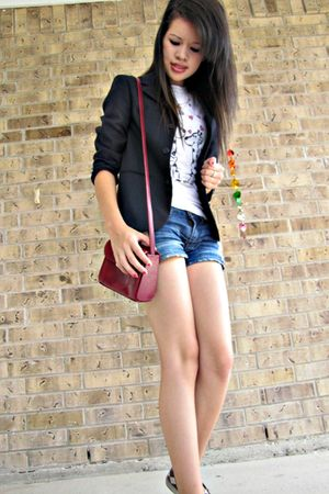 thrifted graphic shirt - Boys blazer - Torn shorts - vintage thrifted purse - To