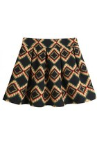Contrast Diamond Print Pleated Skater Skirt