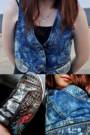 navy denim studded vest - black spaghetti strap black top
