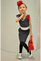 white hongkong shoes - navy DIY DENIM BLUE dress - red Red bag