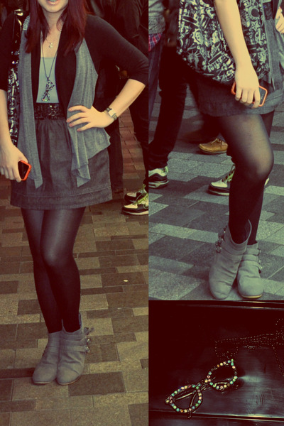 heather gray suede boots - heather gray Mango vest