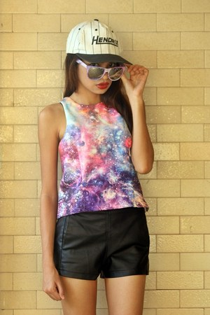 giant vintage glasses - hat - faux leather romwe shorts - galaxy romwe vest