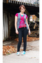 gray vest - green top - pink shirt - black belt - black jeans - blue Converse sh