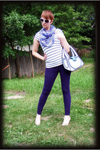 white JumpFromPaper purse - deep purple jeans - black shirt - light purple scarf