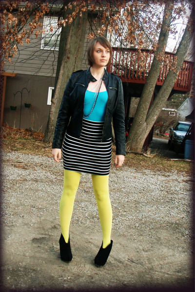 black shoes - black leather jacket - yellow tights - sky blue top - white skirt