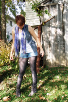 purple scarf - gray vest - white shirt - blue shorts - black tights - gray Rocaw