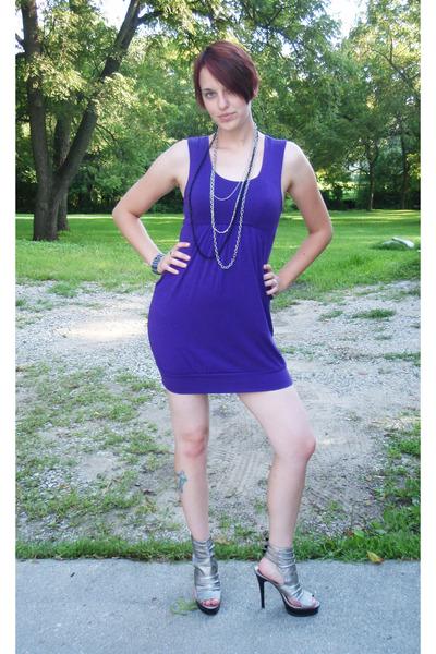 Purple Dress Silver Necklace Blue Bracelet Shoes