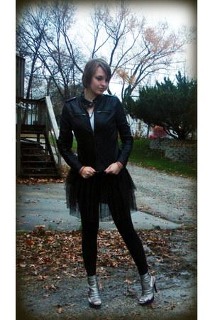 silver heels - black leather jacket - black leggings - white top - black skirt