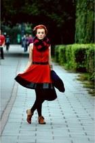 ruby red dress - burnt orange shoes