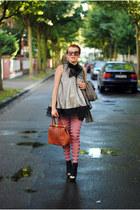 brown romwe blazer - black Oasapcom dress - hot pink romwe tights