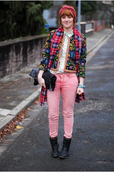 blue Romwecom blazer - navy boots - bubble gum jeans - aquamarine Oasapcom shirt