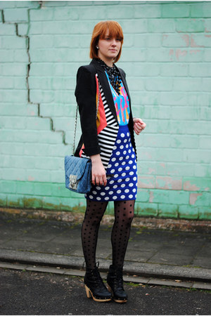 black Romwecom tights - black Oasapcom necklace - blue Romwecom skirt